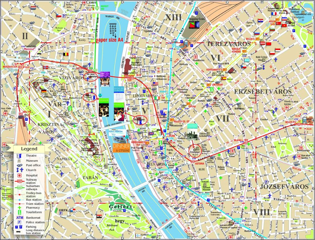 La mappa turistica di Budapest