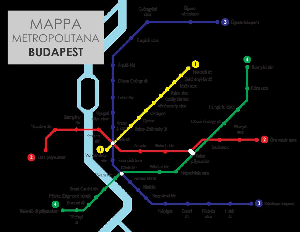 La cartina della metropolitana di Budapest
