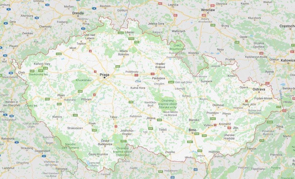 Cartina geografica e mappa ceca