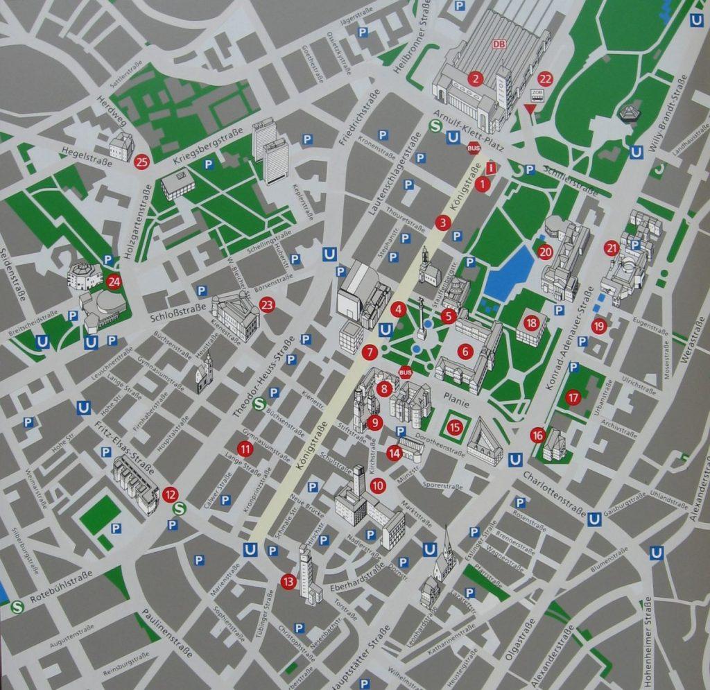 Mappa turistica di Stoccarda