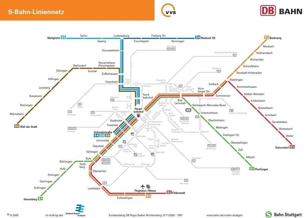 Cartina della metropolitana di Stoccarda