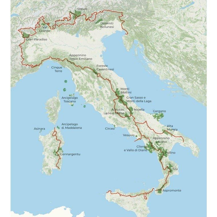 Percorso e itinerario del Sentiero dei Parchi