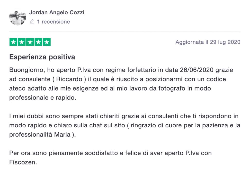 Recensione online positiva di un'esperienza con Opinione di un utente su un'esperienza positiva avuta con Fiscozen